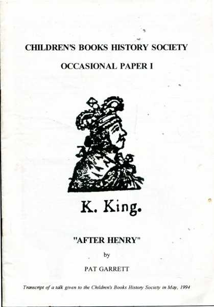 "Image for Children's Books History Society Occasional Paper I : ""After Henry"""