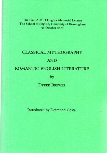 Image for Classical Mythography and English Romantic English Literature