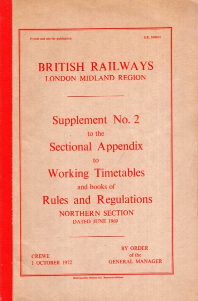 Image for British railways London Midland Region : Supplement No 2 to the Sectional Appendix to Working Timetables and books of Rules and Regulations, Northern Section