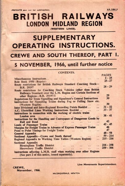 Image for British Railways London Midland Region (Western Lines) Supplementary Operating Instructions, Crewe and South thereof, part 1 5th November 1966 until further notice