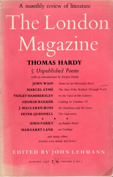 Image for The London Magazine January 1958, volume 3, No 1 [ 5 unpublished poems by Thomas Hardy, introduced by Evelyn Hardy]