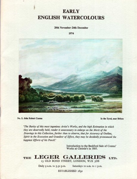 Image for Early English Watercolours 20th Novermber - 24th Decemeber 1974