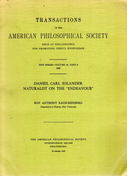 "Image for Transactions of the American Philosophical Society, New Series, volume 58, Part 8 : Daniel Carl Solander, Naturalist on the ""Endeavour"""