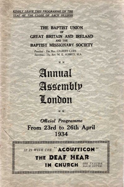 Image for The Baptist Union of Great Britaim and Ireland : Annual Assembly, London 1934