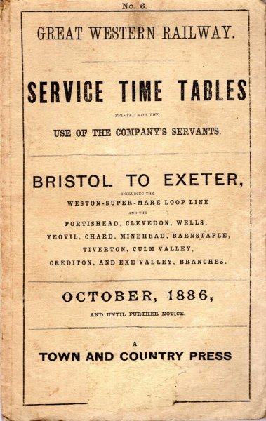Image for Great Western Railway Service Time Tables Bristol to Exeter October 1886