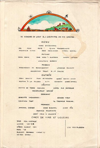 Image for Welsh Regiment Oficer's Mess Menus