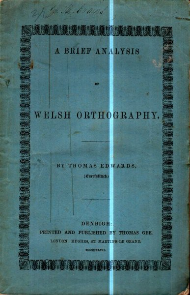 Image for A Brief Analysis of Welsh Orthography