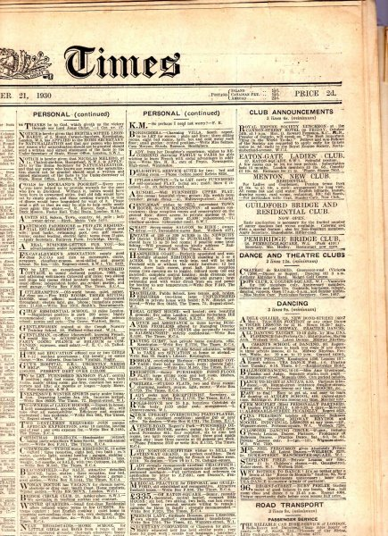 Image for The Times [Newspaper] October 21st 1930