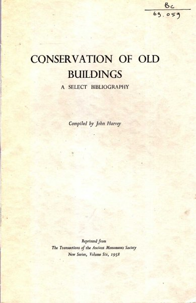 Image for Conservation of Old Buildings - a select bibliography
