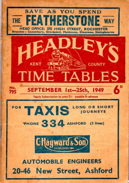Image for Headley's Kent County Time Tables September 1st -25th 1949