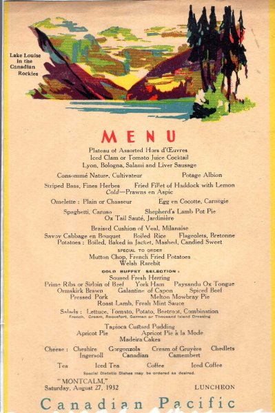Image for Canadian Pacific Menu : Montcalm, August 27, 1932