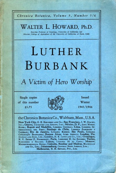 Image for Chronica Botanica, volume 9, Number 5/6 : Luther Burbank, a victim of hero worship