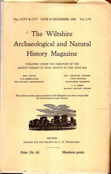 Image for The Wiltshire Archaeological and Natural History Magazine : volume lvi, No cciv & ccv, June & December 1956