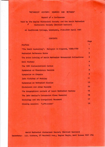 Image for Methodist History : Sources and Methods, Report of a Conference, April 1981