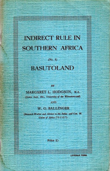 Image for Indirect Rule in Souther Africa (No 1) Basutoland