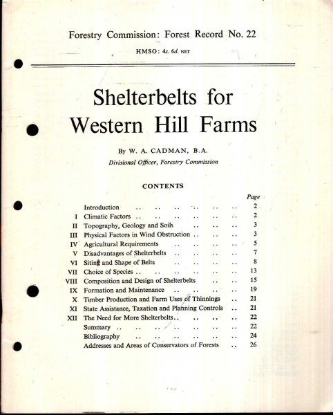 Image for Forestry Commission : Forest Record No 22 : Shelterbelts for Western Hill Farms