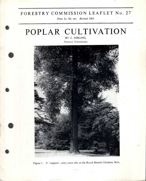 Image for Forestry Commission Leaflet No 27 : Poplar Cultivation