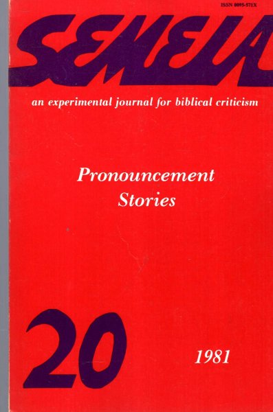 Image for Semeia : an experimental journal for biblical criticism - No 20 : Pronouncement Stories