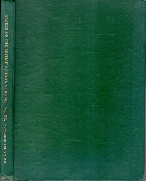 Image for Papers from the British School at Rome : volume XX (New Series, volume VII) 1952