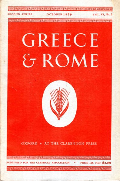 Image for Greece & Rome : second series, vol vi, No 2, October 1959