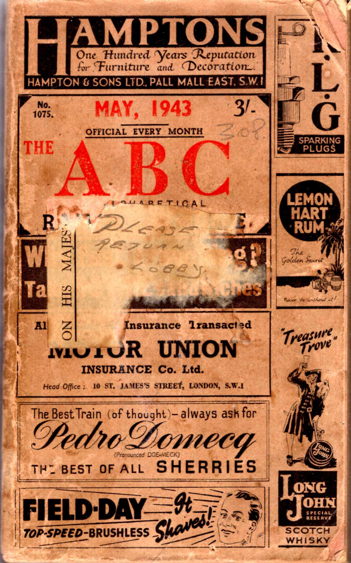 Image for The ABC or Alphabetical Railway Guide with which is incorporated The A to Z Time Tables and Hotel Guide : May 1943