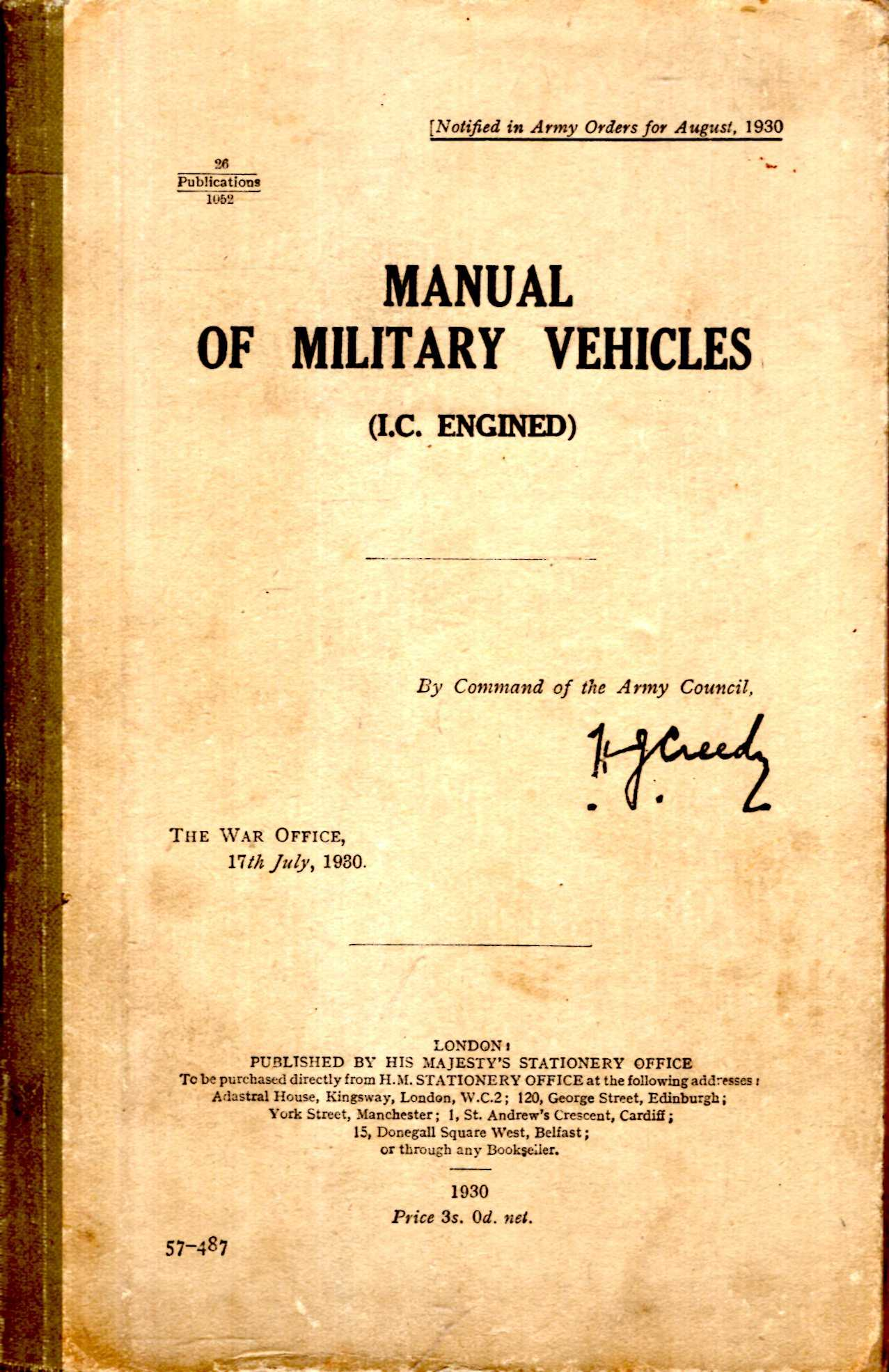 Image for Manual of Military Vehicles (IC Engined)