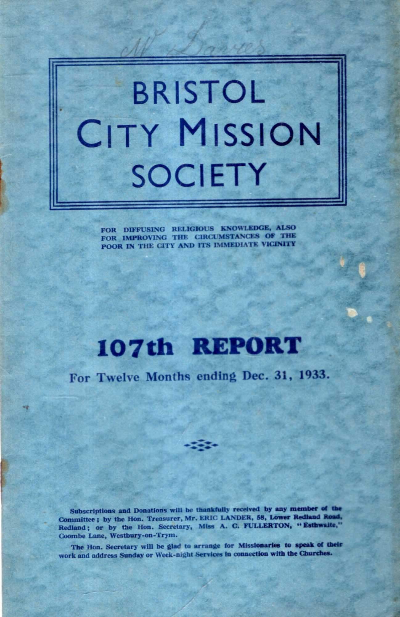 Image for The 107th Report of The Bristol City Mission Society