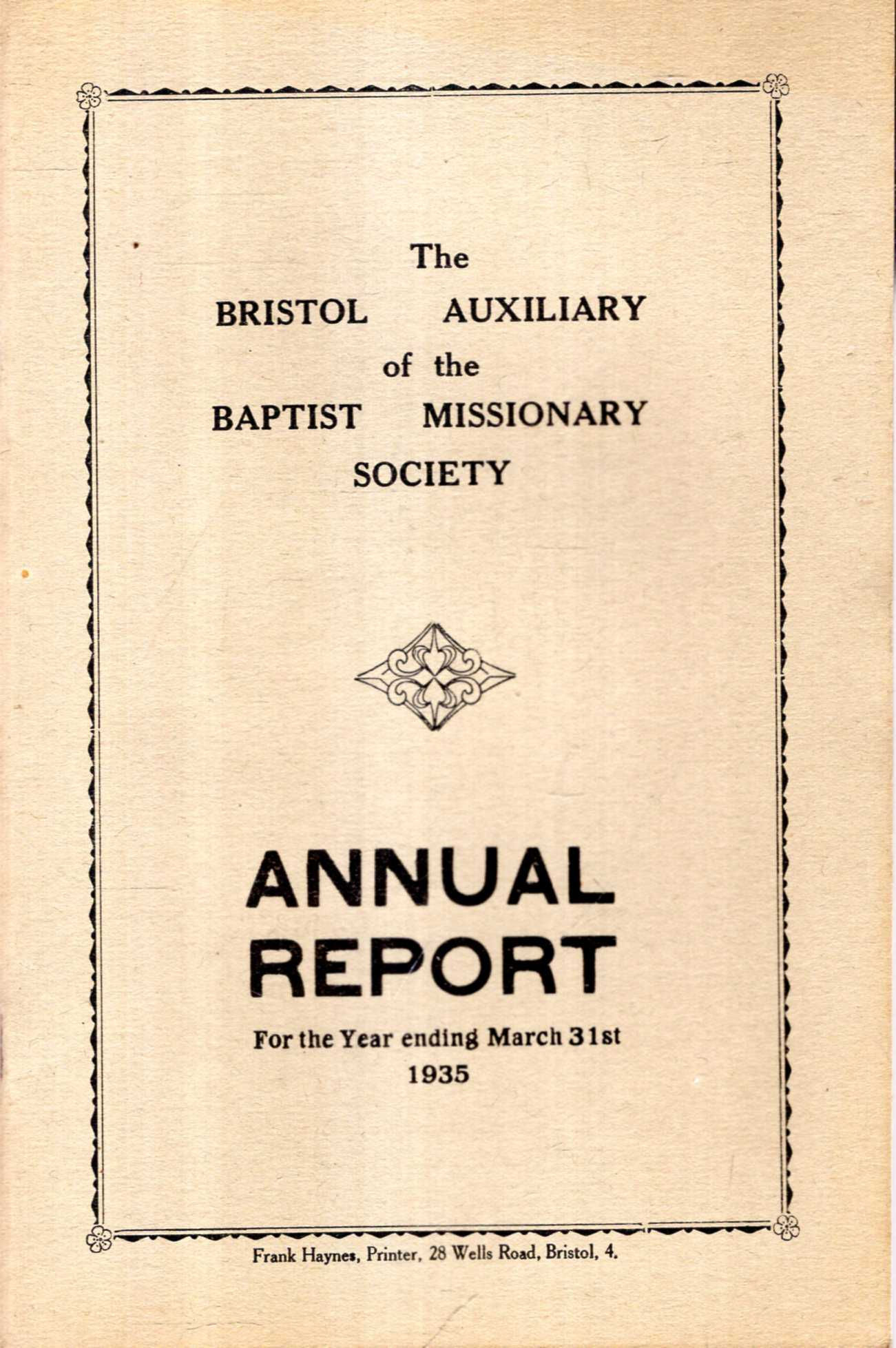 Image for The Bristol Auxiliary of the Baptist Missionary Society, Annual Report for the year ending March 31st, 1935