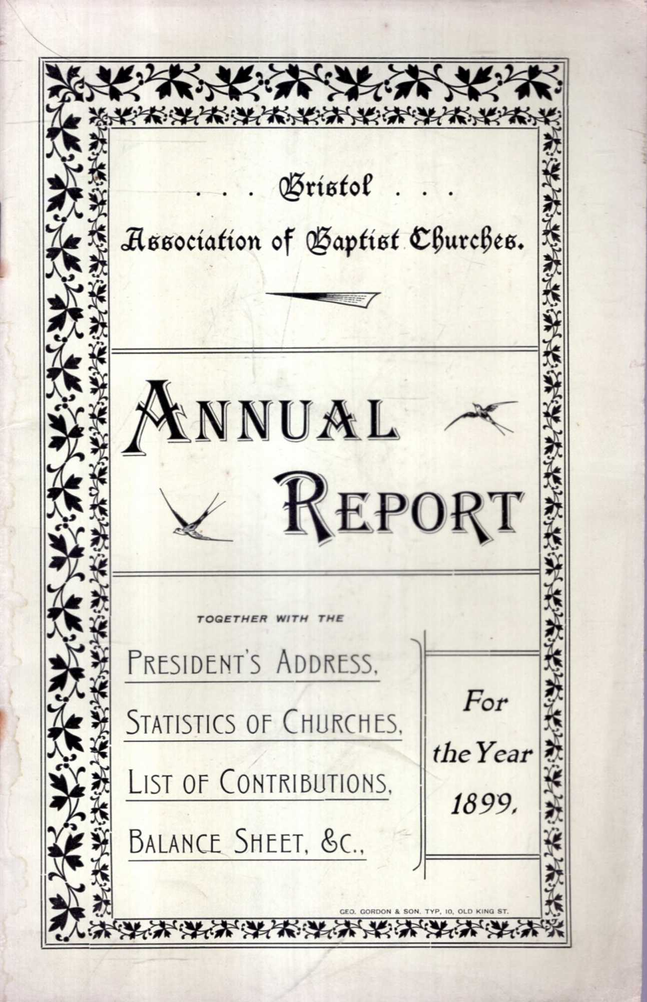 Image for Bristol Association of Baptists Churches : Annual Report for the Year 1899