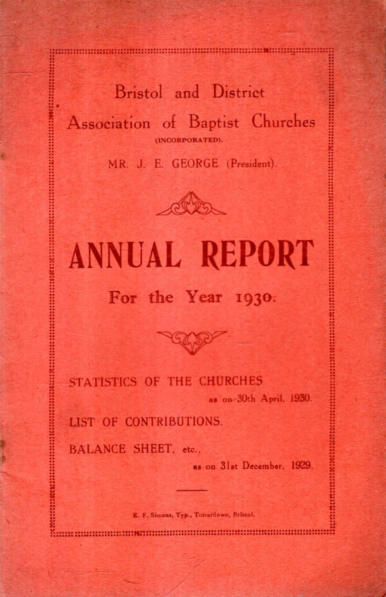 Image for Bristol and District Association of Baptist Churches : Annual Report for the Year 1930