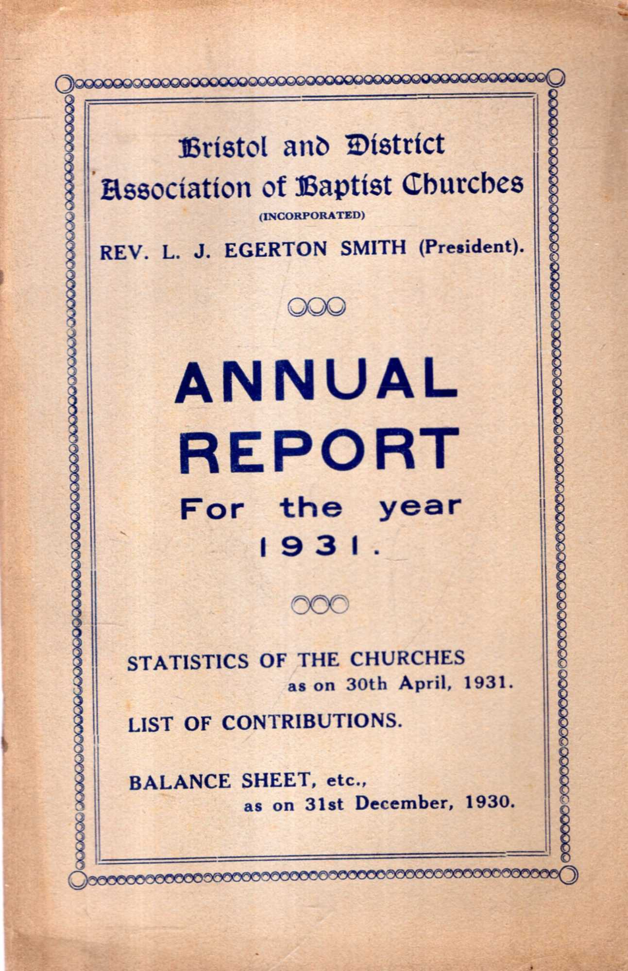 Image for Bristol and District Association of Baptist Churches : Annual Report for the Year 1931
