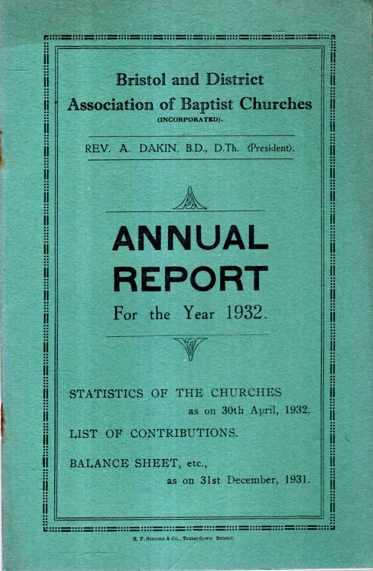 Image for Bristol and District Association of Baptist Churches : Annual Report for the Year 1932
