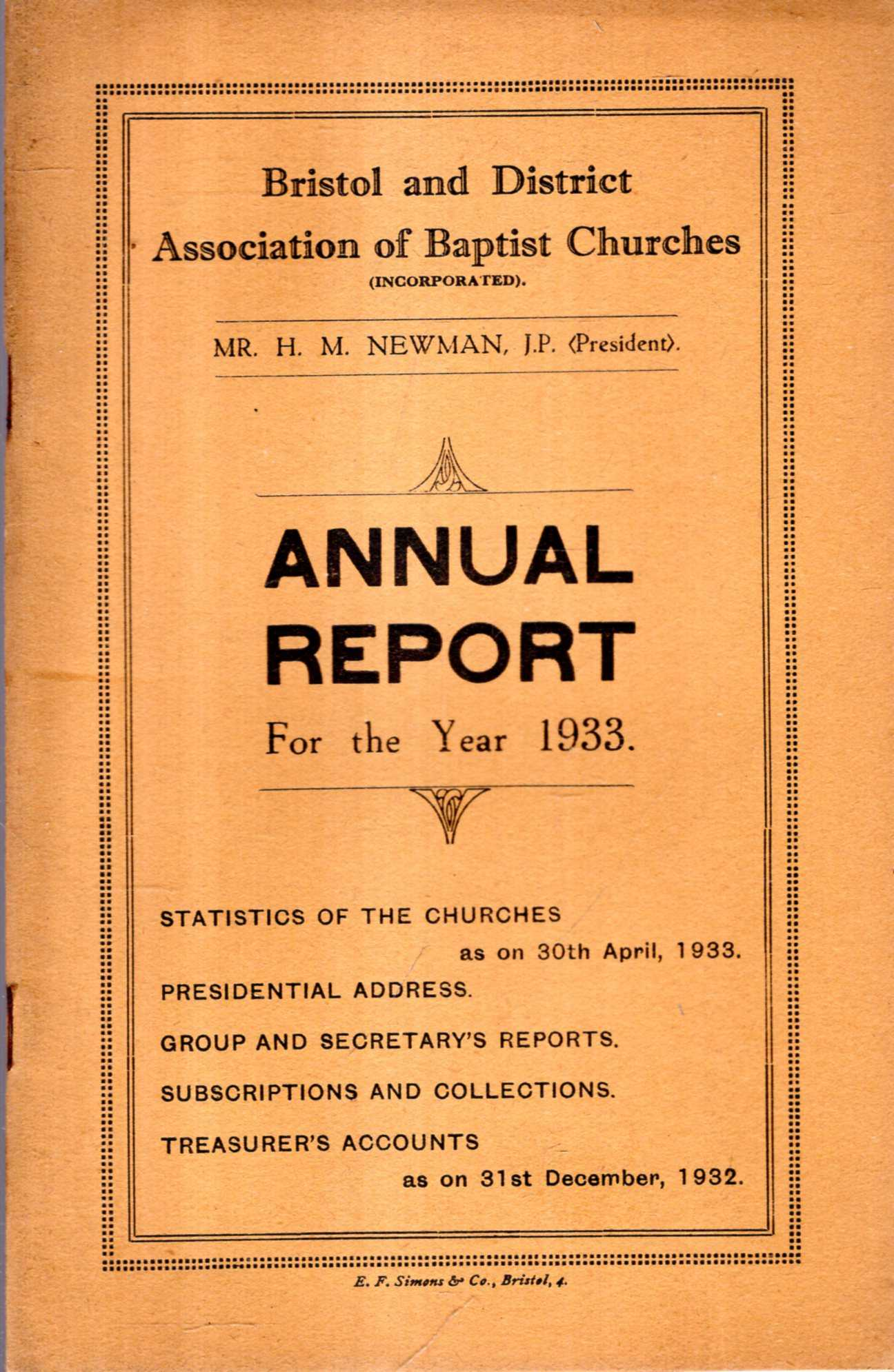 Image for Bristol and District Association of Baptist Churches : Annual Report for the Year 1933