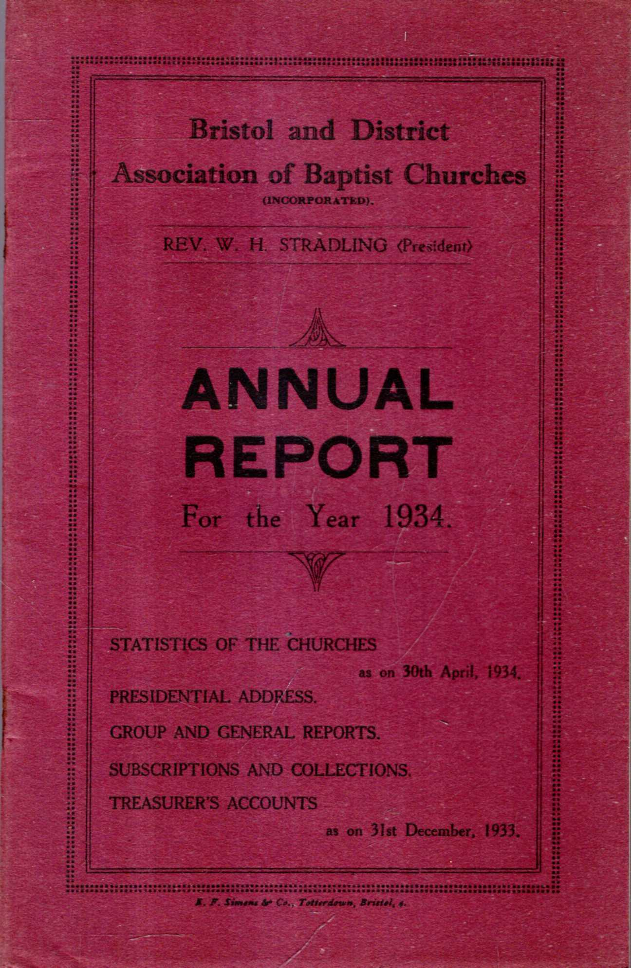 Image for Bristol and District Association of Baptist Churches : Annual Report for the Year 1934