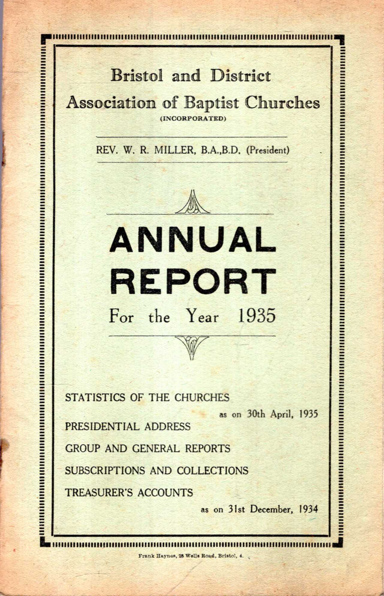 Image for Bristol and District Association of Baptist Churches : Annual Report for the Year 1935