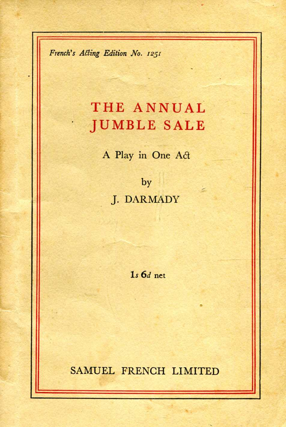 Image for The Annual Jumble Sale : a play in one Act