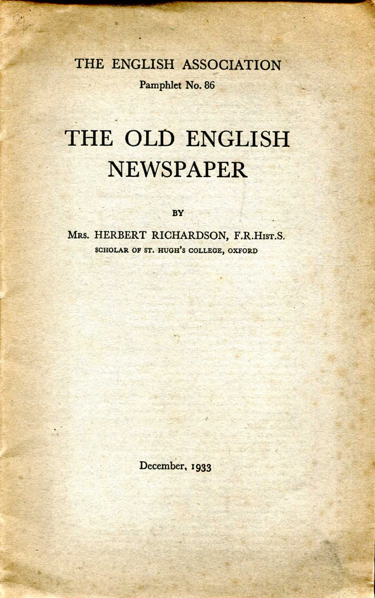 Image for The Old English Newspaper (The English Association Pamphlet No. 86)