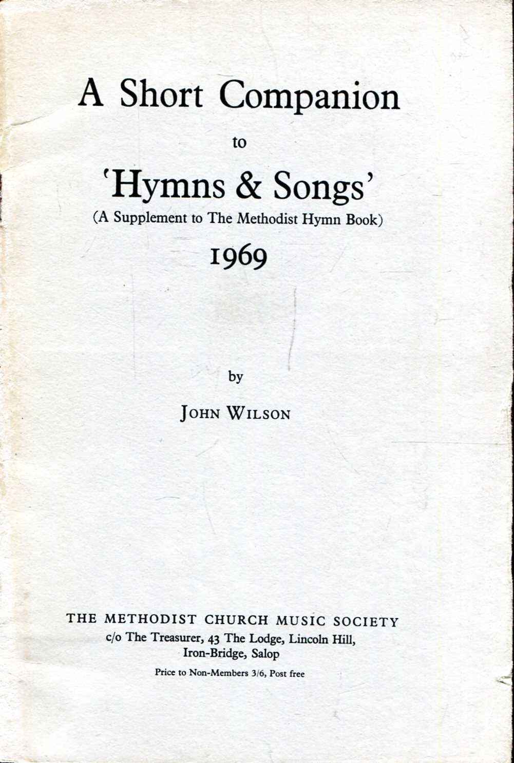 Image for A Short Companion to 'Hymns & Songs' (A Supplement to The Methodist Hymn Book)