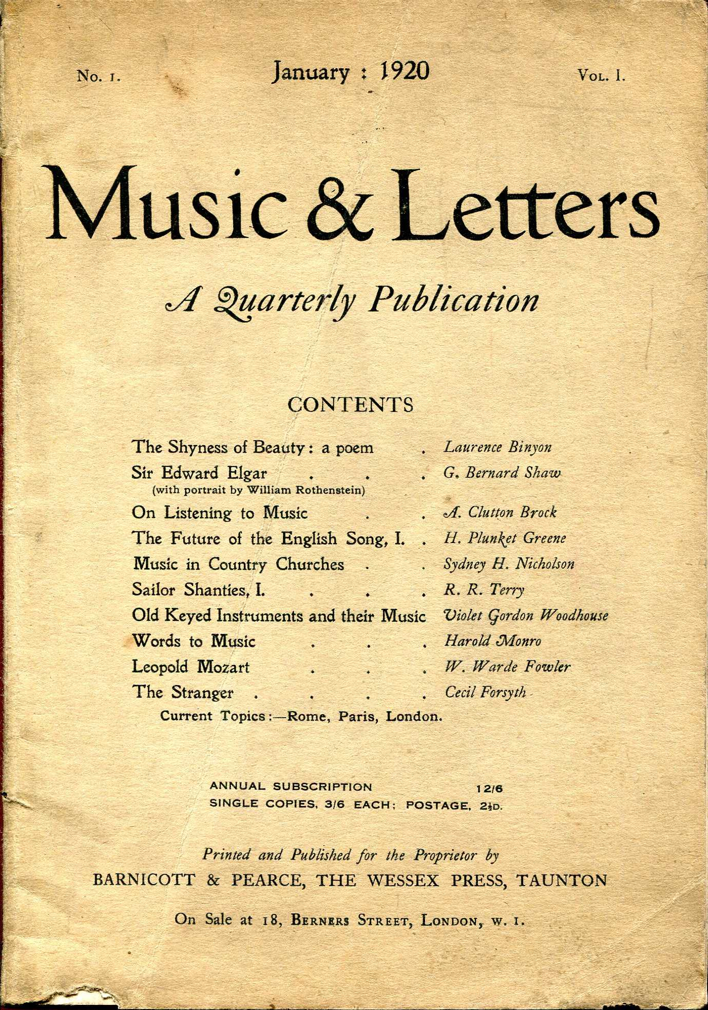 Image for Music & Letters : A Quarterly Publication, volume I, No. 1, January 1920