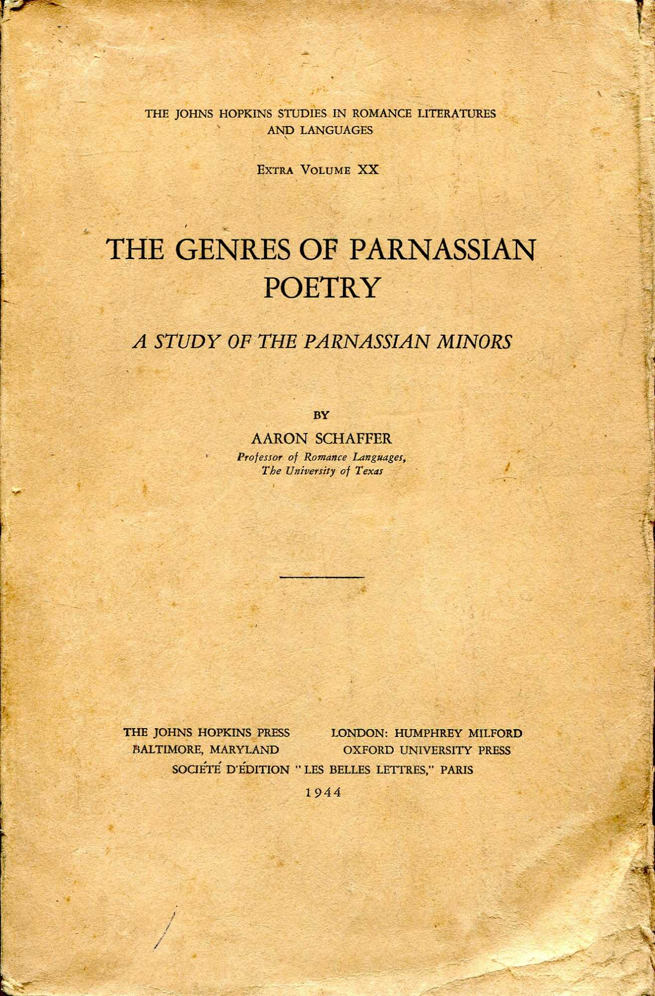 Image for The Genres of Parnassian Poetry : A Study in the Pasrnassian Minors