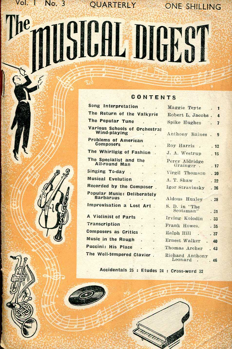 Image for The Musical Digest Quarterly : Volume 1 No 3, August 1947