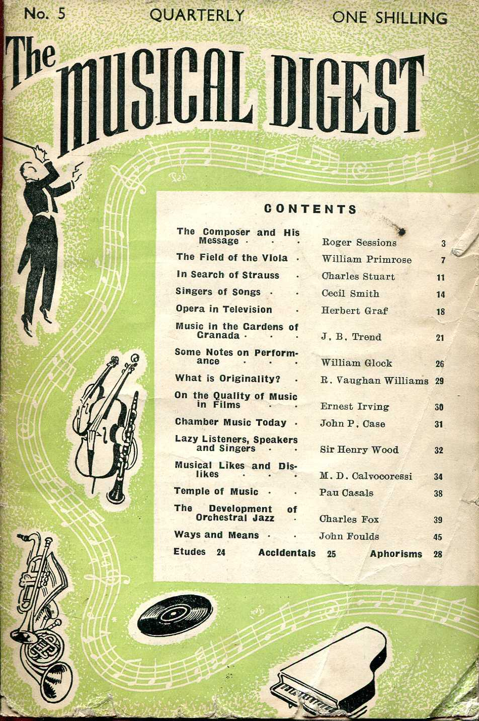 Image for The Musical Digest Quarterly : Volume 1 No 5, Spring 1948